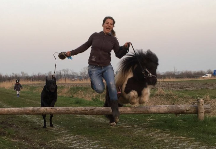 Met hond en Shetlandpony