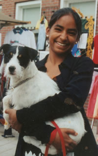 Rebecca met hond